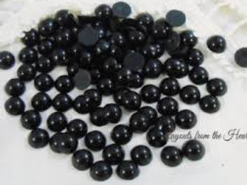Black Acrylic Flat back Pearls 100 per pack 6 mm size crafts scrapbooking