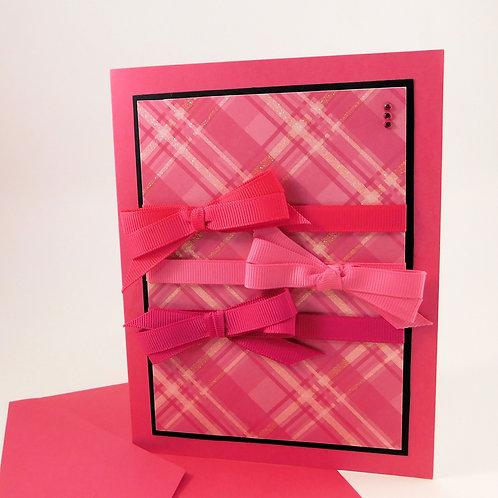 Handmade All Occasion Greeting Card Glitter Plaid Grosgrain Ribbon Gems