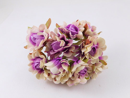 3.5cm Purple Ivory Fabric Flowers with stems supply Floral craft scrapbooking pa