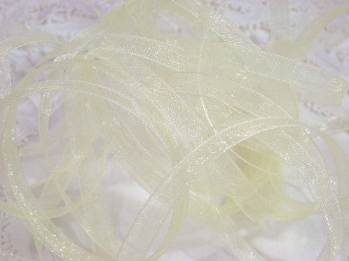 Pale Baby Yellow Sheer 1/4 inch ribbon 25 yards pastel Embellishment