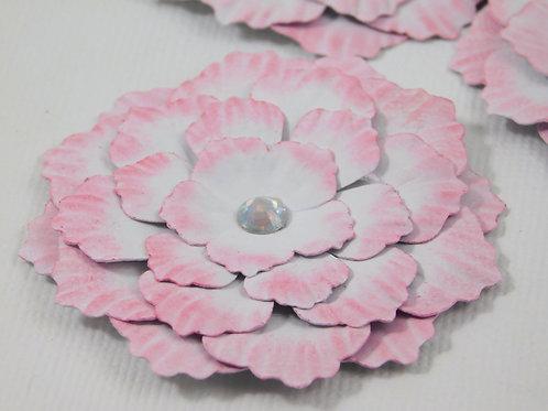 Handmade Paper Flowers White Pink embellishments accessories scrapbooking crafti