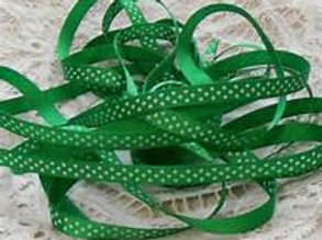 4 Yards green with White Dots Grosgrain Ribbon 3/8 inch embellishment trim polka