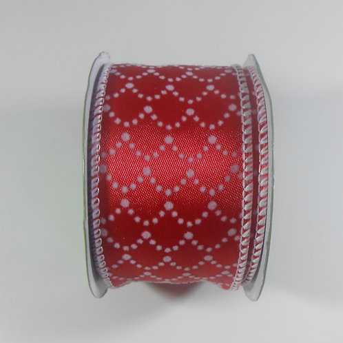 Red White Satin Ribbon wire edges 9 feet, 2 inch wide Embellishment