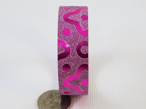 Pink Purple Glitter Metallic Thick Flowers Dots Washi Tape 15mm