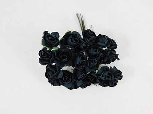 2 cm Black Mini Paper Flowers roses with stems supply Floral scrapbooking