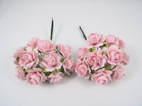 1 inch Scrapbooking Paper Flowers Jasmine with stems Floral Light Pink roses