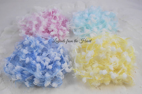 Pom Pom Trim Variety Pack Aqua, Pink, Blue, Yellow Fibers Crafts