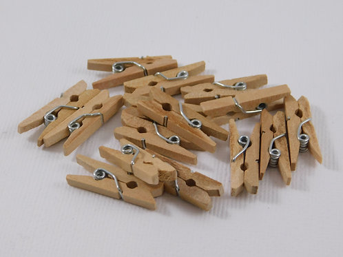 Mini Wooden Clothes Pin Embellishments Wood Natural Tan Beige pins