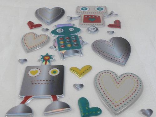 Robot Love Sticker Embellishments Cute robots Scrapbooking Cardmaking