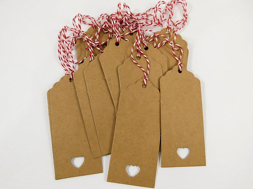 20 Kraft tags craft cardstock scrapbooking tags large Heart cutout cut out baker