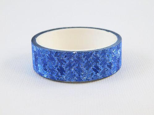 True Blue Glitter Foil Metallic Textured Washi Tape Roll 15mm 3.5 meters (3.83 y
