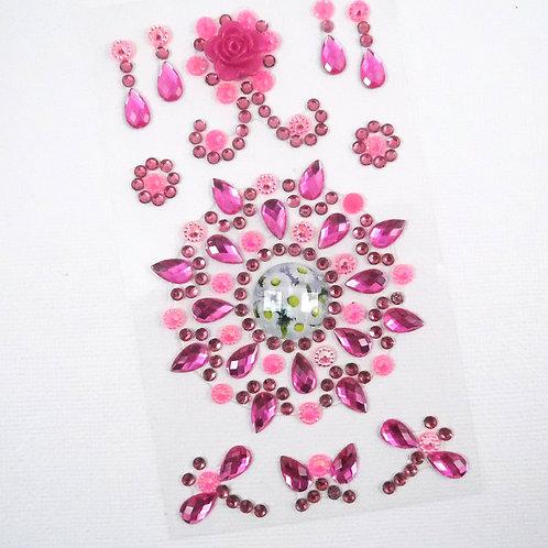 Pink Flourish Medallion Dragonflies Butterflies Sticker Floral Scrapbooking