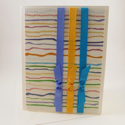 Handmade All Occasion Greeting Card Glitter Stripes Grosgrain Ribbon