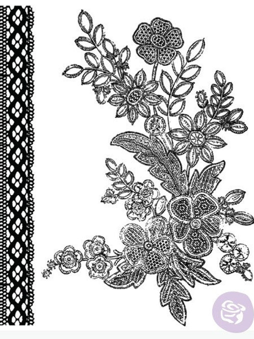 Rosarian Clear Stamp Set from Prima Marketing 559489 Flowers borders