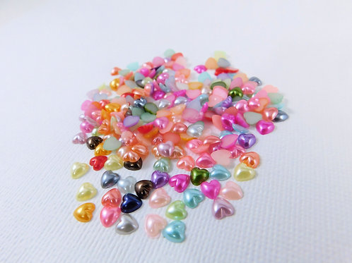 6mm Multi Colored Acrylic Flat back Heart Pearls 120 per pack 6 mm