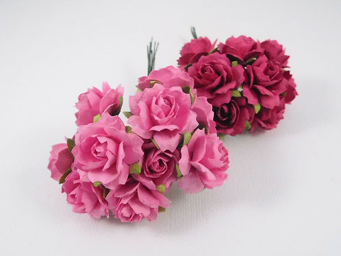 1 inch Scrapbooking Paper Flowers Jasmine stems Floral Pink Dark Pink roses