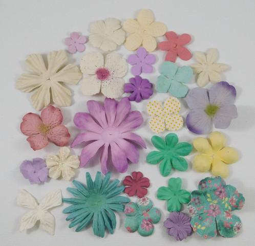 Prima Paper Flowers Sampler Assortment 435 Pastel Mulberry Paper Crafts