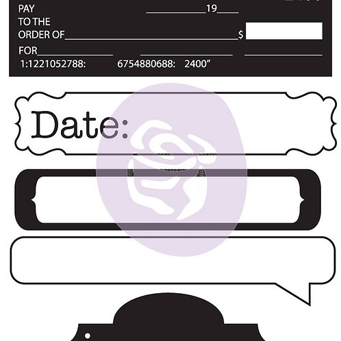Engraver Clear Stamp from Prima Marketing 563073 check date tabs tags