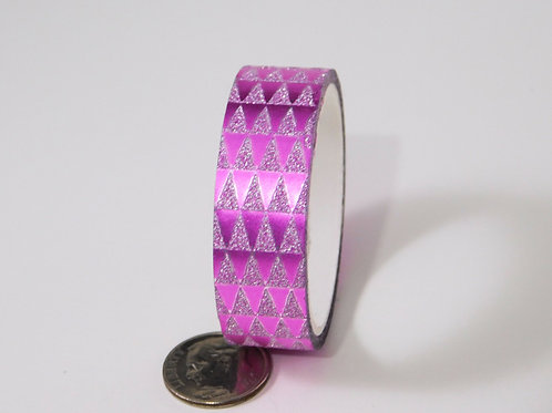 Purple Glitter Metallic Triangles Washi Tape Roll 15mm 3.5 meters (3.83 yards) E