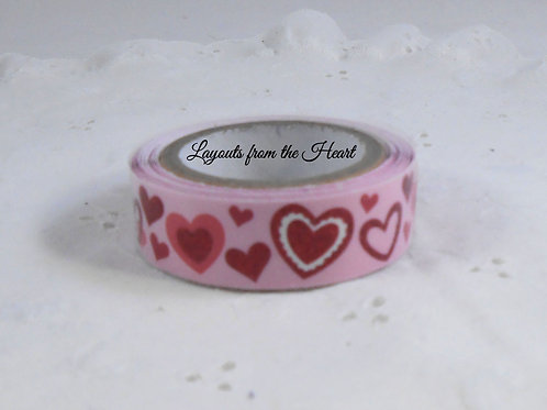 Washi Tape Roll 2.5 meters (2.73 yards) Glitter red pink hearts Embellishment