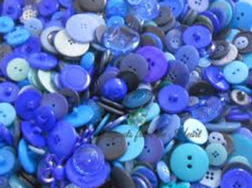 Buttons Embellishments Random Assortment Shades of Blue