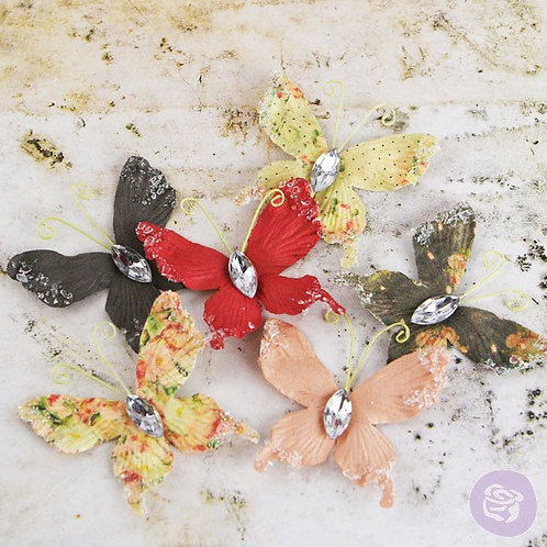Prima Papillons Tea Thyme Multi Colored Pack 562557 butterflies craft scrapbooki