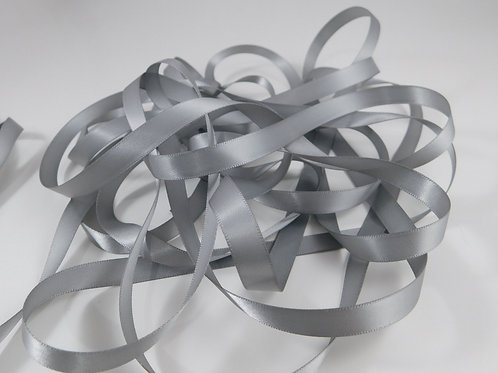 3/8 inch wide Grey Gray Silver Double Face Satin Ribbon 5 Yards for scrapbooking