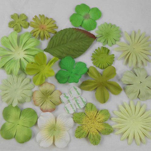 Prima Paper Flowers Green White Assort No 312 Got Flowers Mulberry embellishment