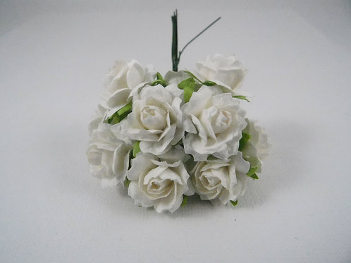 1 inch Scrapbooking Paper Flowers Jasmine with stems Floral White roses