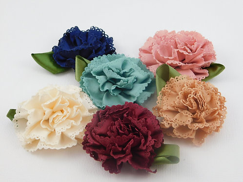 Fabric Flowers Lace Ribbon Blue Cream Red Tan Pink Teal Floral supplies