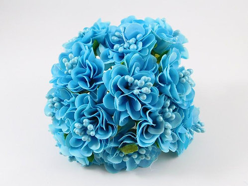 Fabric Silk Flowers Marigolds on Stems Light Blue Aqua Embellishment