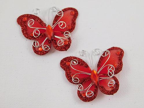 Red Glitter Butterflies Home Decor Crafts Supplies scrapbooking rhinestone glitt