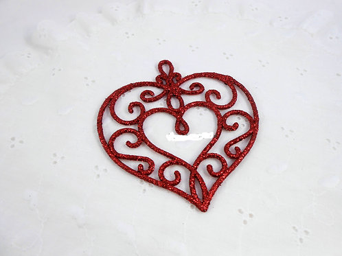 Set of 2 Acrylic Glittered Heart Red colored in glitter Scrapbooking decoration