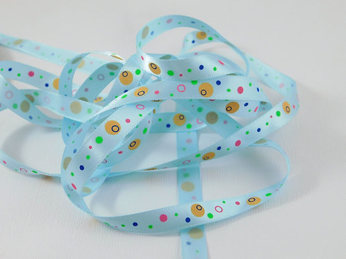 5 Yards Light Blue with Dots Circles Single Faced Satin Ribbon 3/8 inch