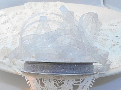Silver Grey Gray Sheer Organza 1/4 inch ribbon 5 yards embellishment trim scrapb