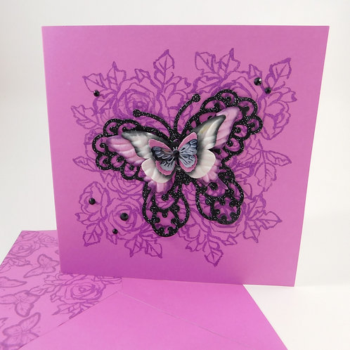 Handmade All Occasion Greeting Card Paper butterflies purple die cut black