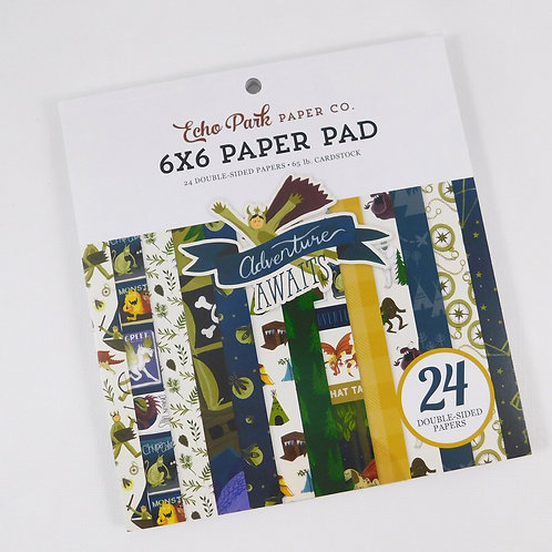 Echo Park 6 x 6 Paper Pad Adventure Awaits Collection 24 pages heavy 65 pound