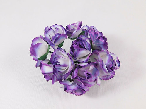 3cm Purple White Mini Paper Flowers roses with stems supply Floral craft scrapbo