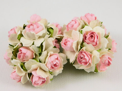 Scrapbooking Paper Flowers roses with stems Floral Pink White supplies
