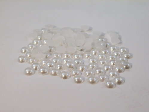 White Acrylic Flat back Pearls 100 per pack 6 mm size crafts scrapbooking