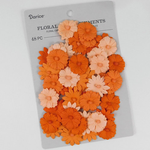 Darice Button Daisy Flowers Orange Pack 30061978 mulberry paper flowers