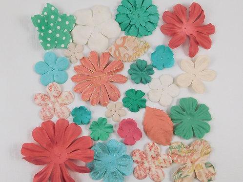 Prima Paper Flowers Pink, Teal, Blue, White Assortment No 439 Scrapbook supplies