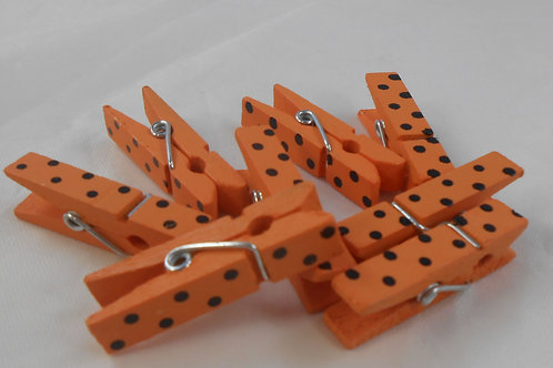 Mini Wooden Clothes Pin Embellishments Orange with Black dots clothespins