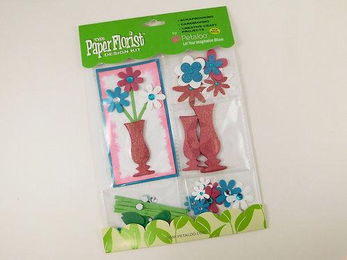 Petaloo Paper Flower Pink White Teal Aqua Green 3D 1360007 scrapbook kit