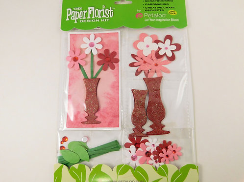 Petaloo Paper Flower Pink Red White Green 3D 1360007 kit scrapbooking cards