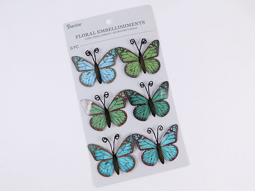 Darice Floral Embellishments Green Blue Black Butterflies 30062035 3d craft
