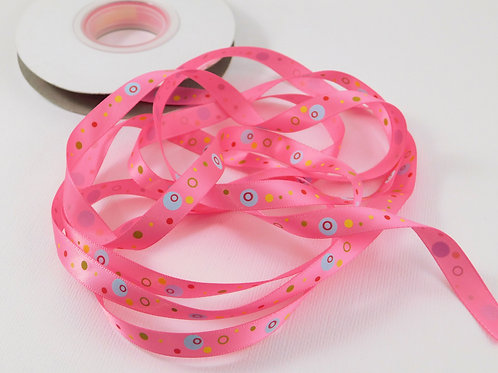 5 Yards Pink with Dots Circles Single Faced Satin Ribbon 3/8 inc
