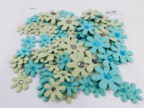 The Paper Studio Flowers Gem Glitter Paper Flowers Green Teal 90 pieces small