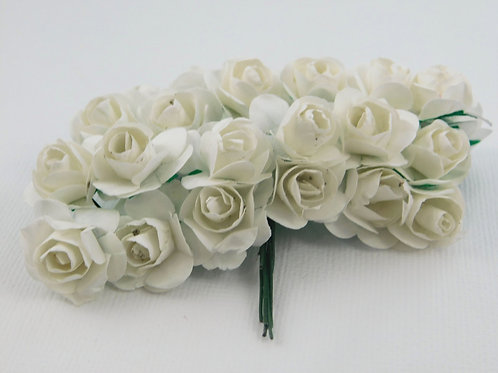 White Mini Paper Flowers roses with stems supply Floral Flowers craft scrapbooki