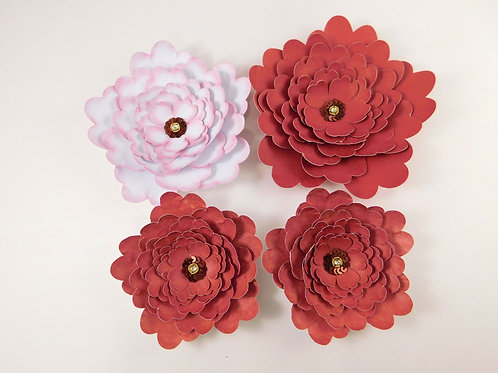 Large Handmade Paper Flowers White Weathered Red embellishments accessories scra